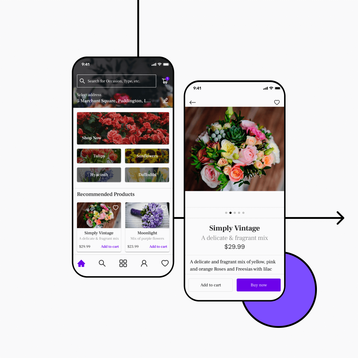 Florist app with home and product screen