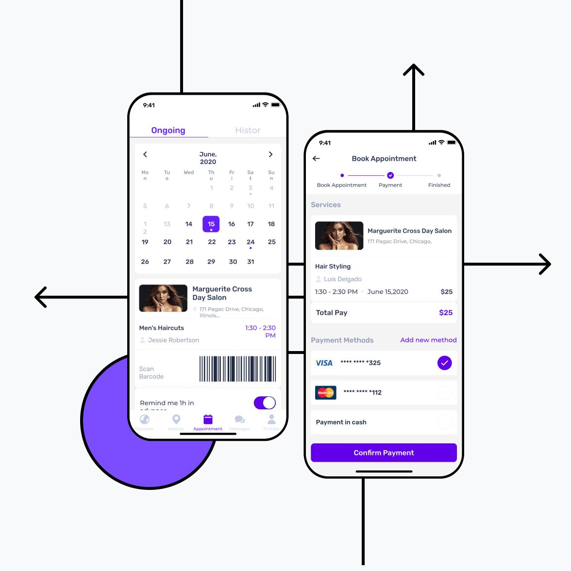 Salon app screens with calendar