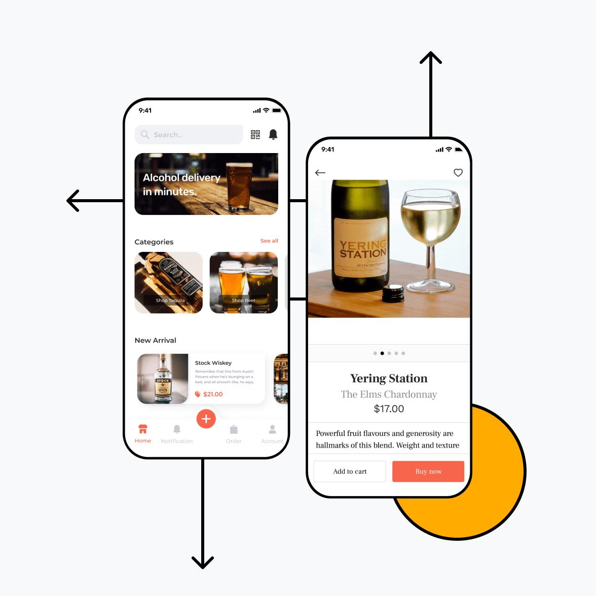 Liquor delivery app screens product details