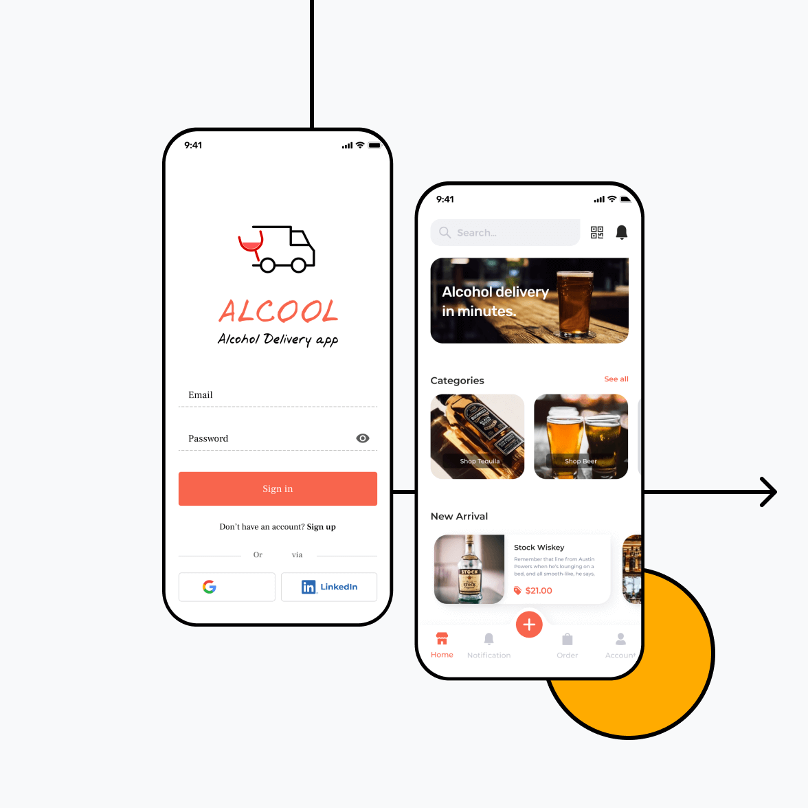 Liquor delivery app with home and login screen