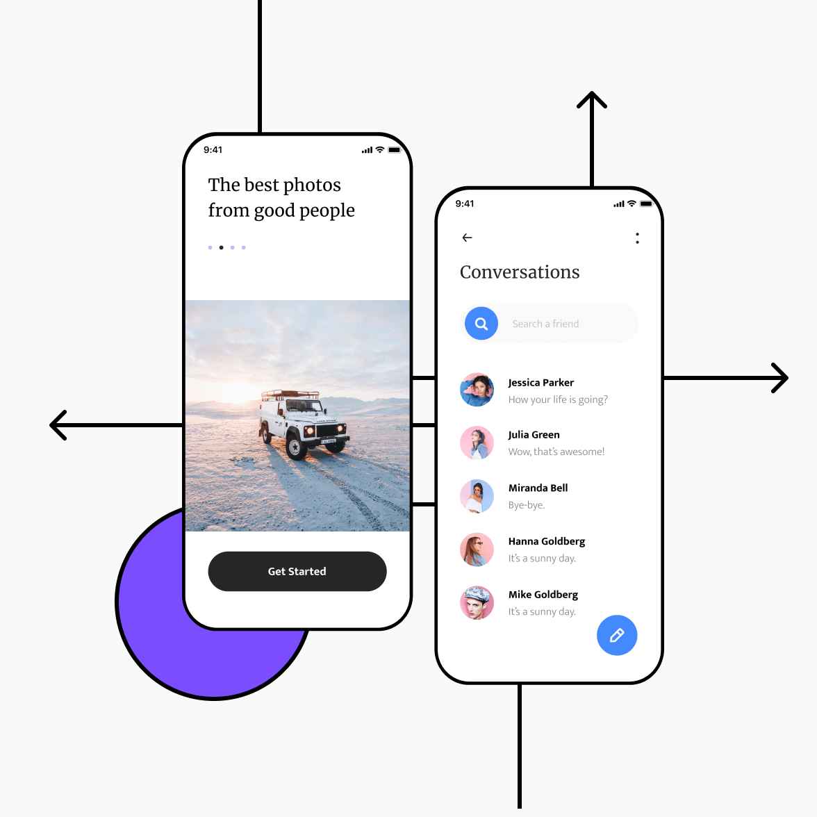 Social networking app with conversation