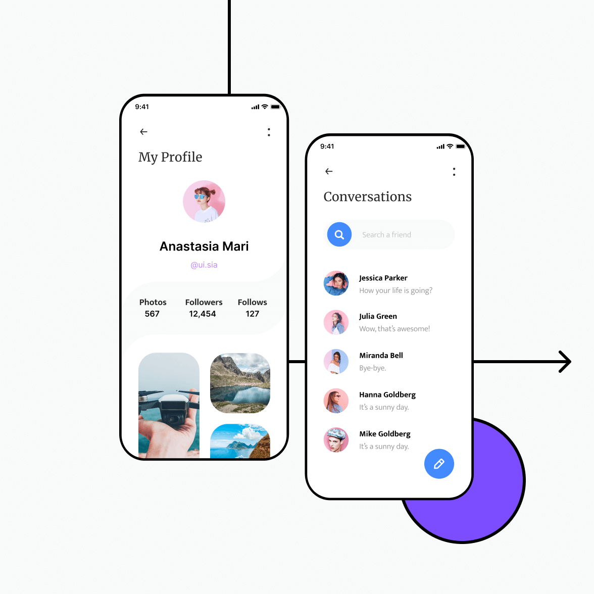 Social networking app with profile screen