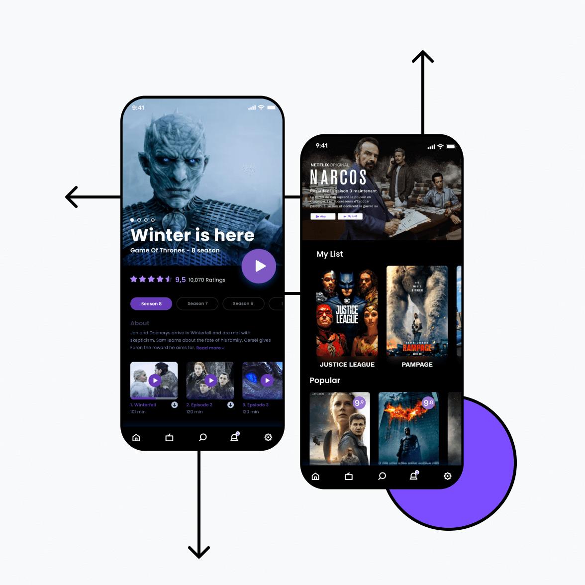 Live video streaming app screens