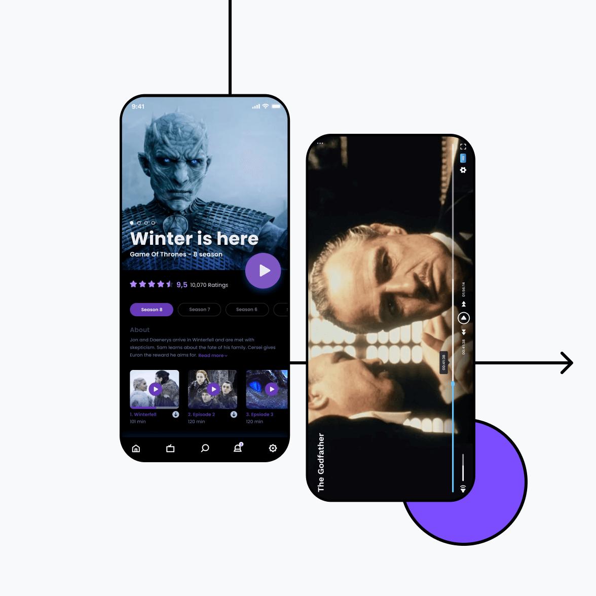OTT App screens
