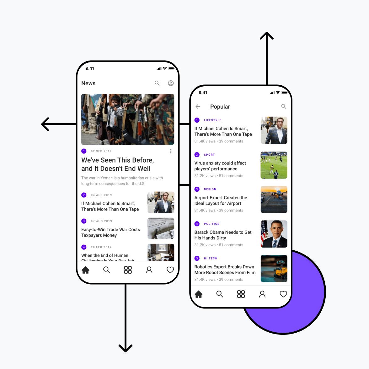 News and media app screens