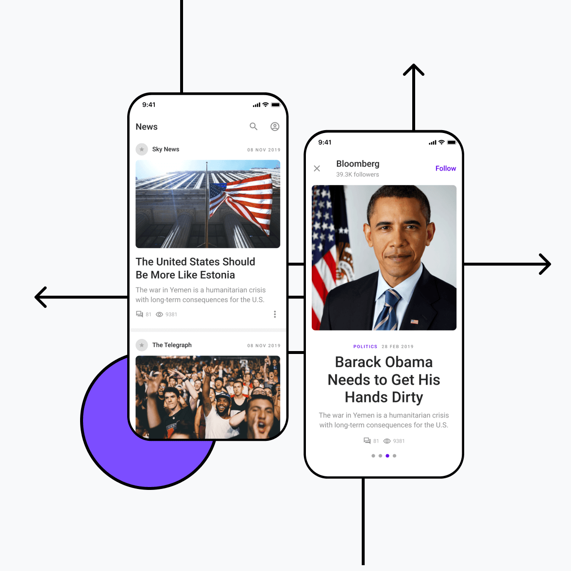 News app with news category screens