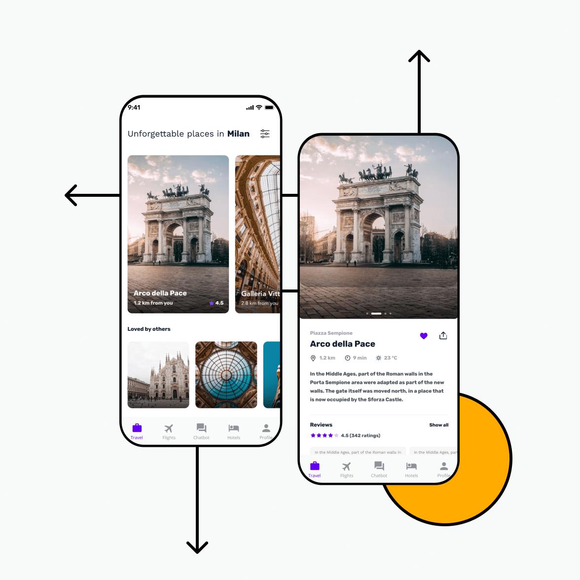 Travel app home screens