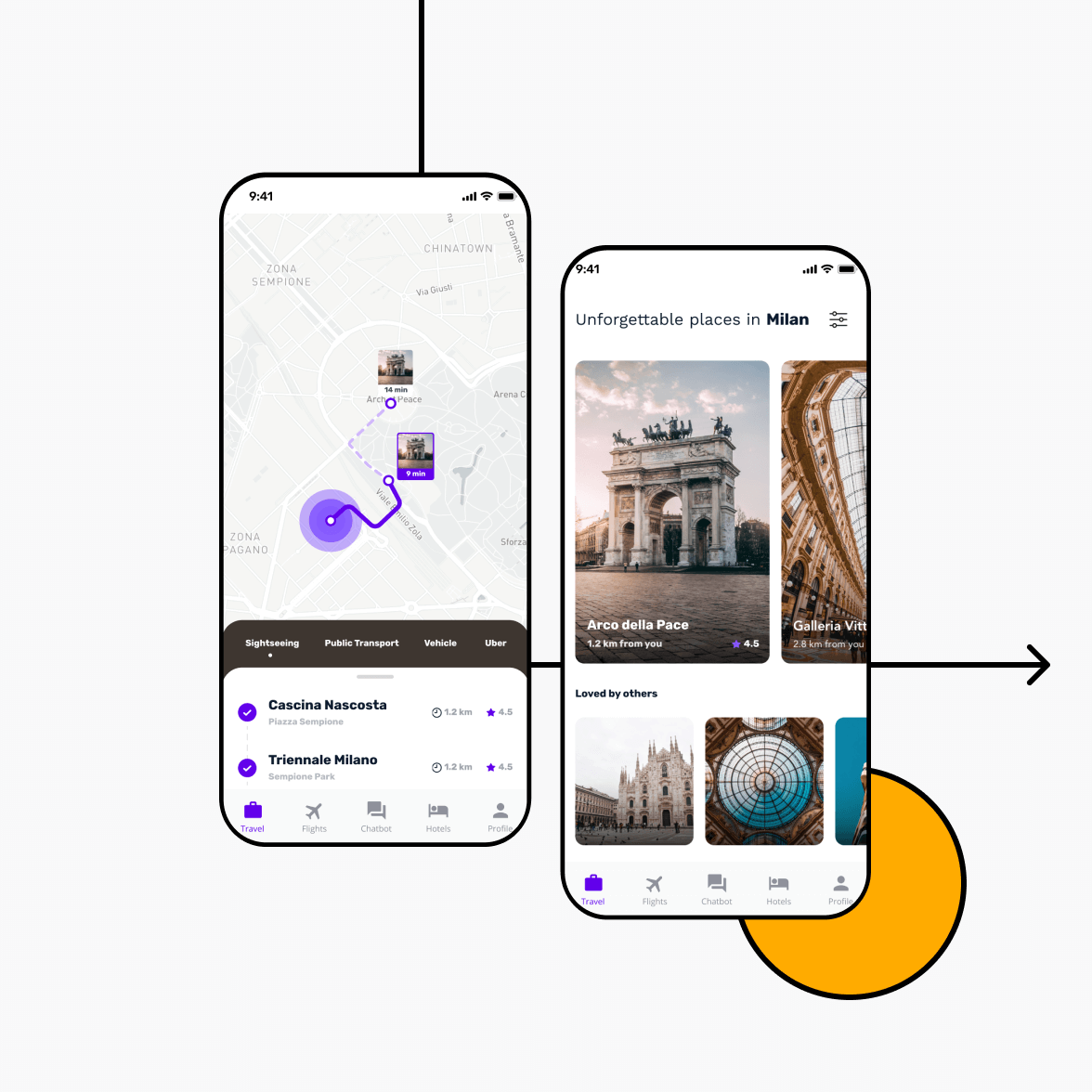 Travel app with location and navigation