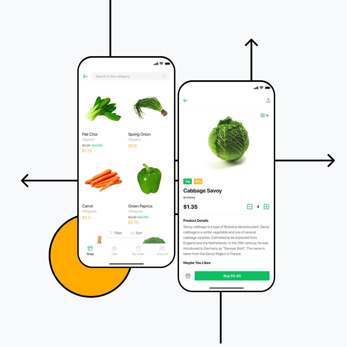 Grocery business app screens