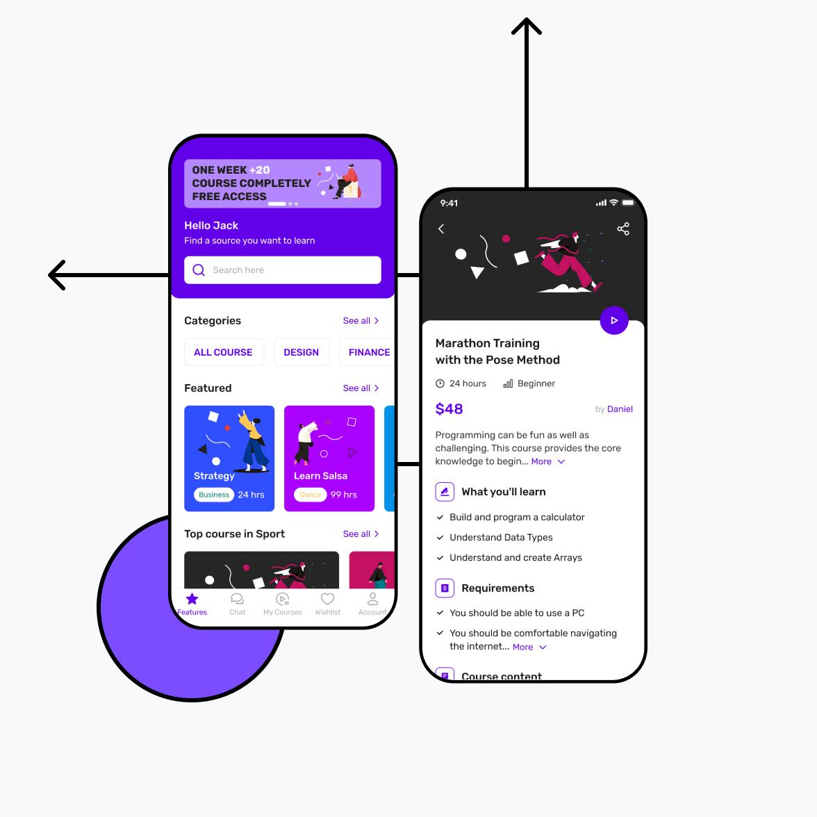 Online learning app screens