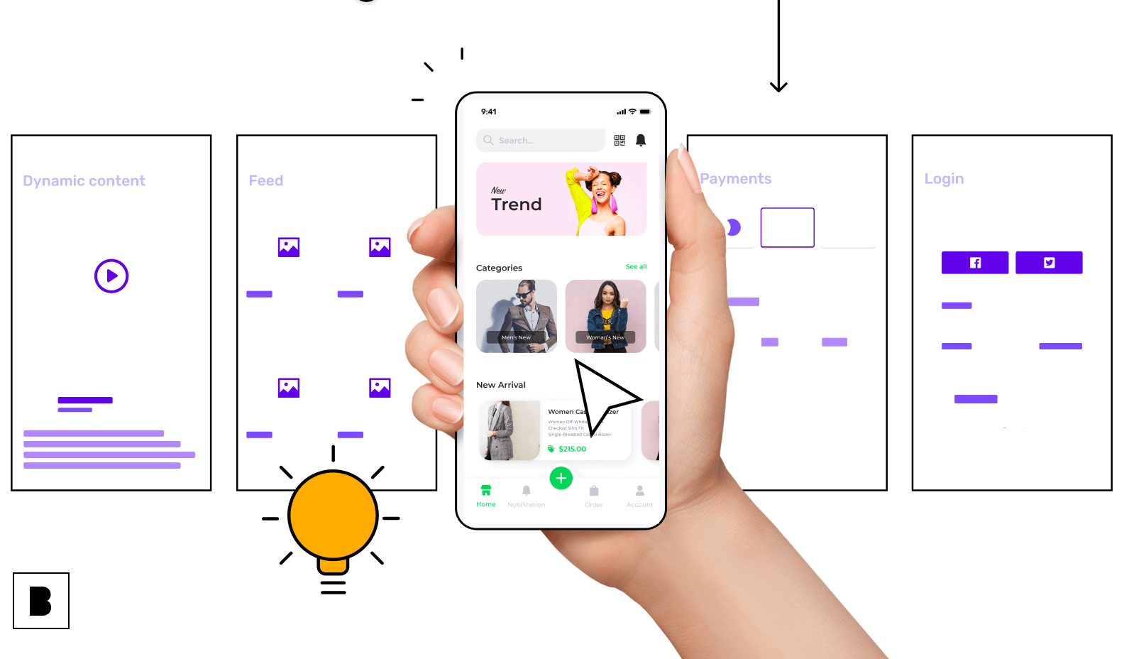 Your app screens with app features