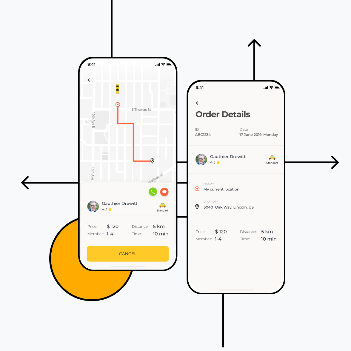 Taxi booking app with order screen