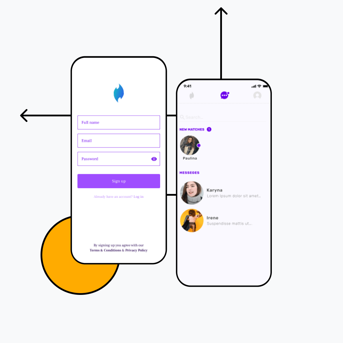 Dating app with signup screen