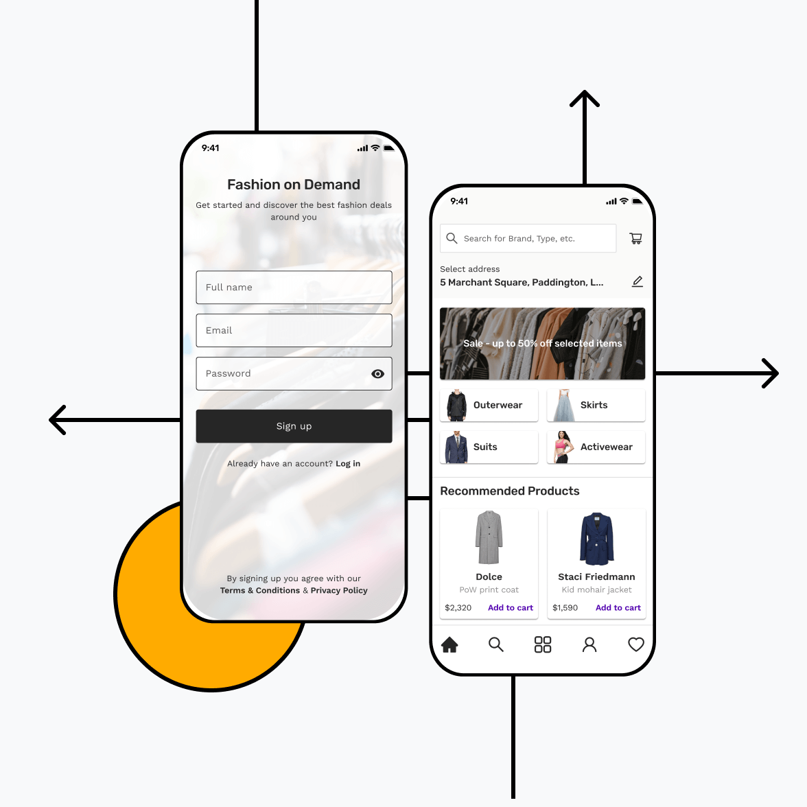 ecommerce retail app with signup screen