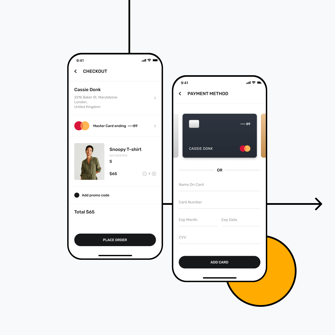Retail app checkout screen with payment methods