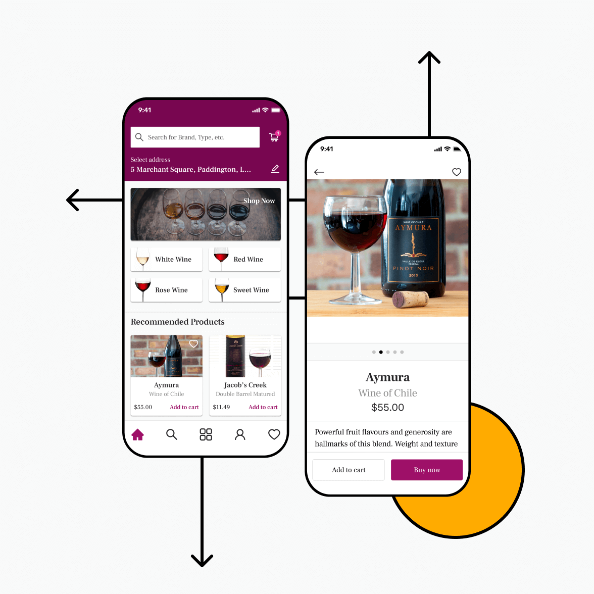 Wine retail app with product list and product details