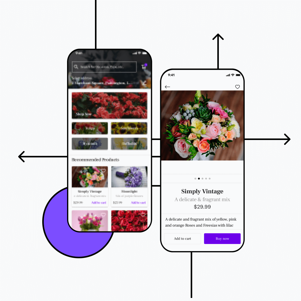 Florist app with product listing and product details