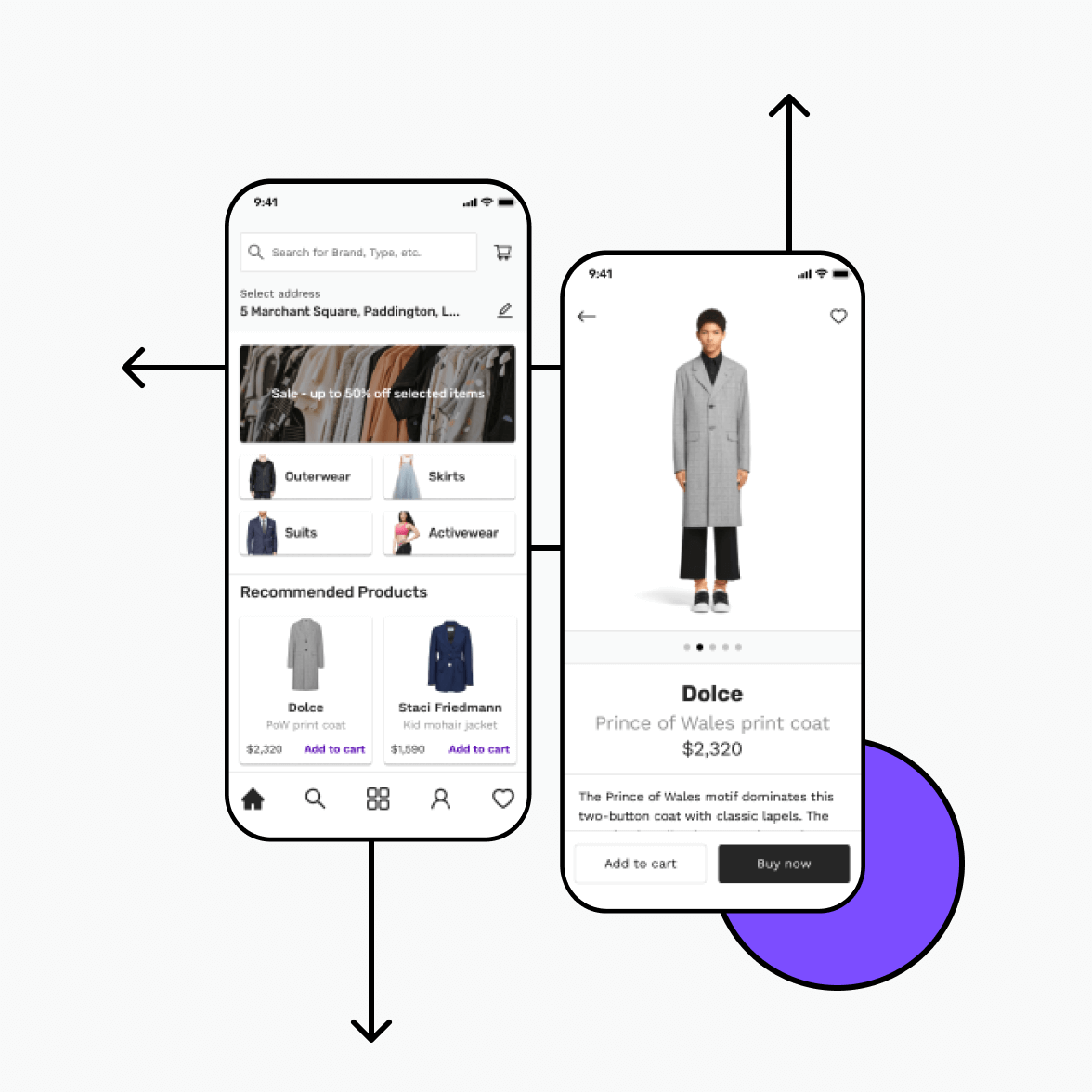 Retail app screens with categories and product details