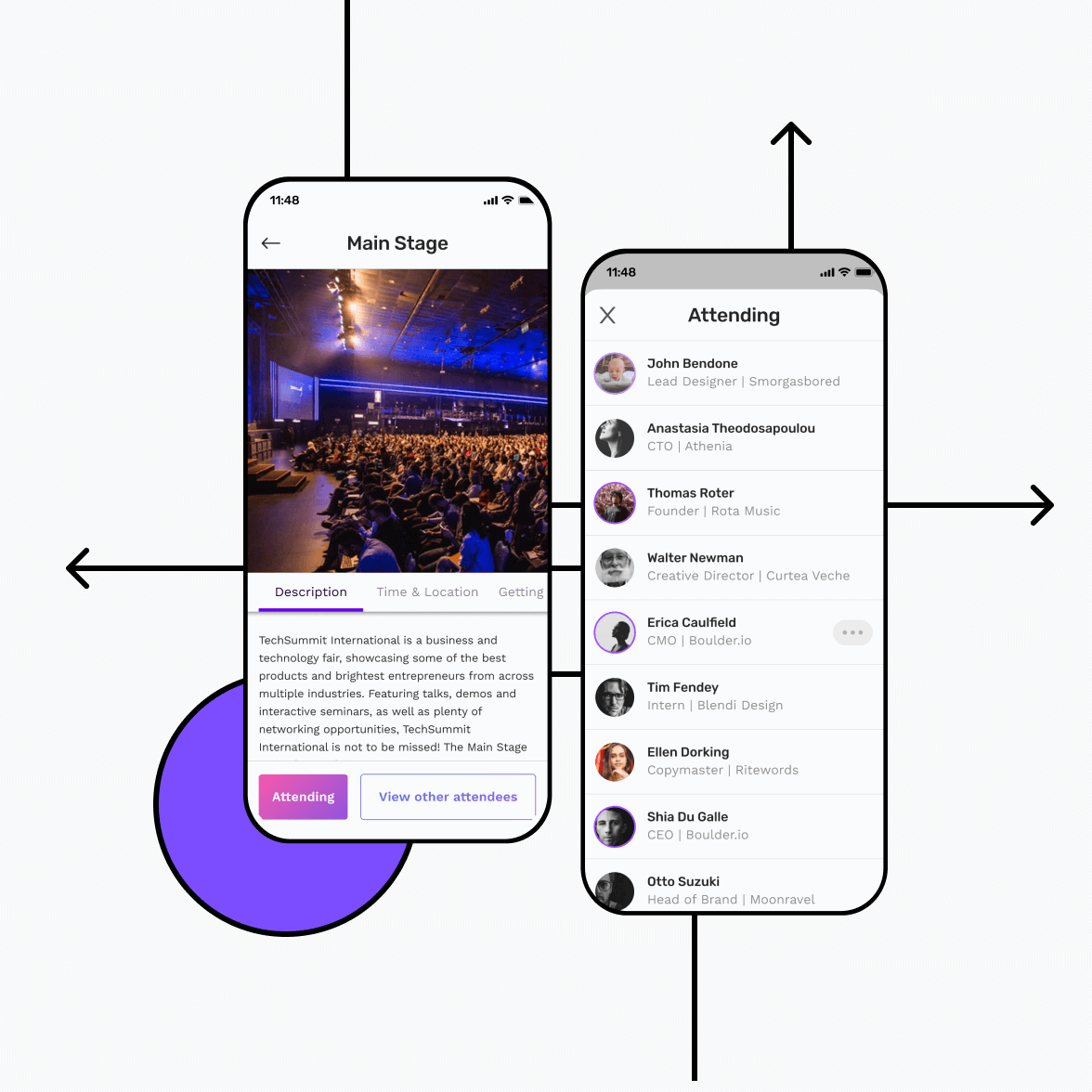 Event app screens with main stage and attendee list
