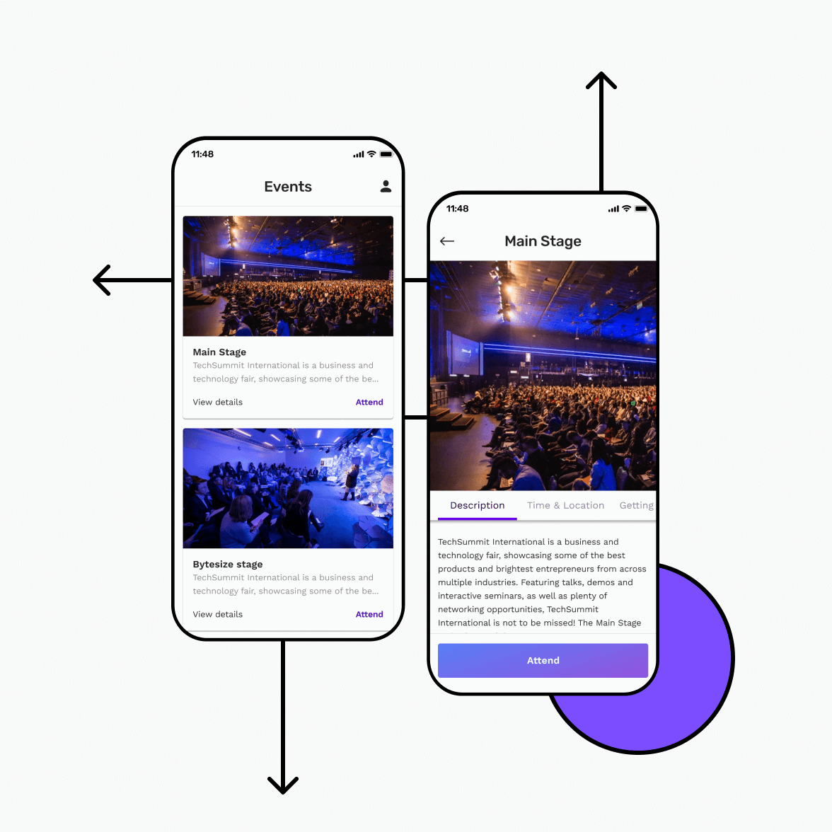 Event app screens with event details