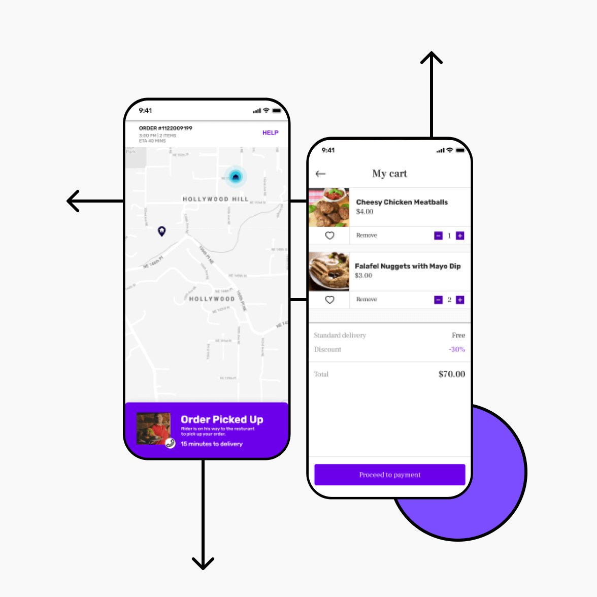 Food delivery app with navigation screen