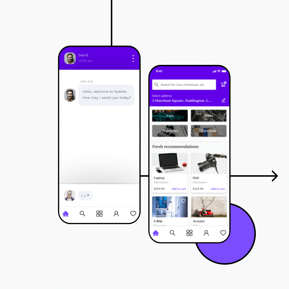 Classified app with chat screen