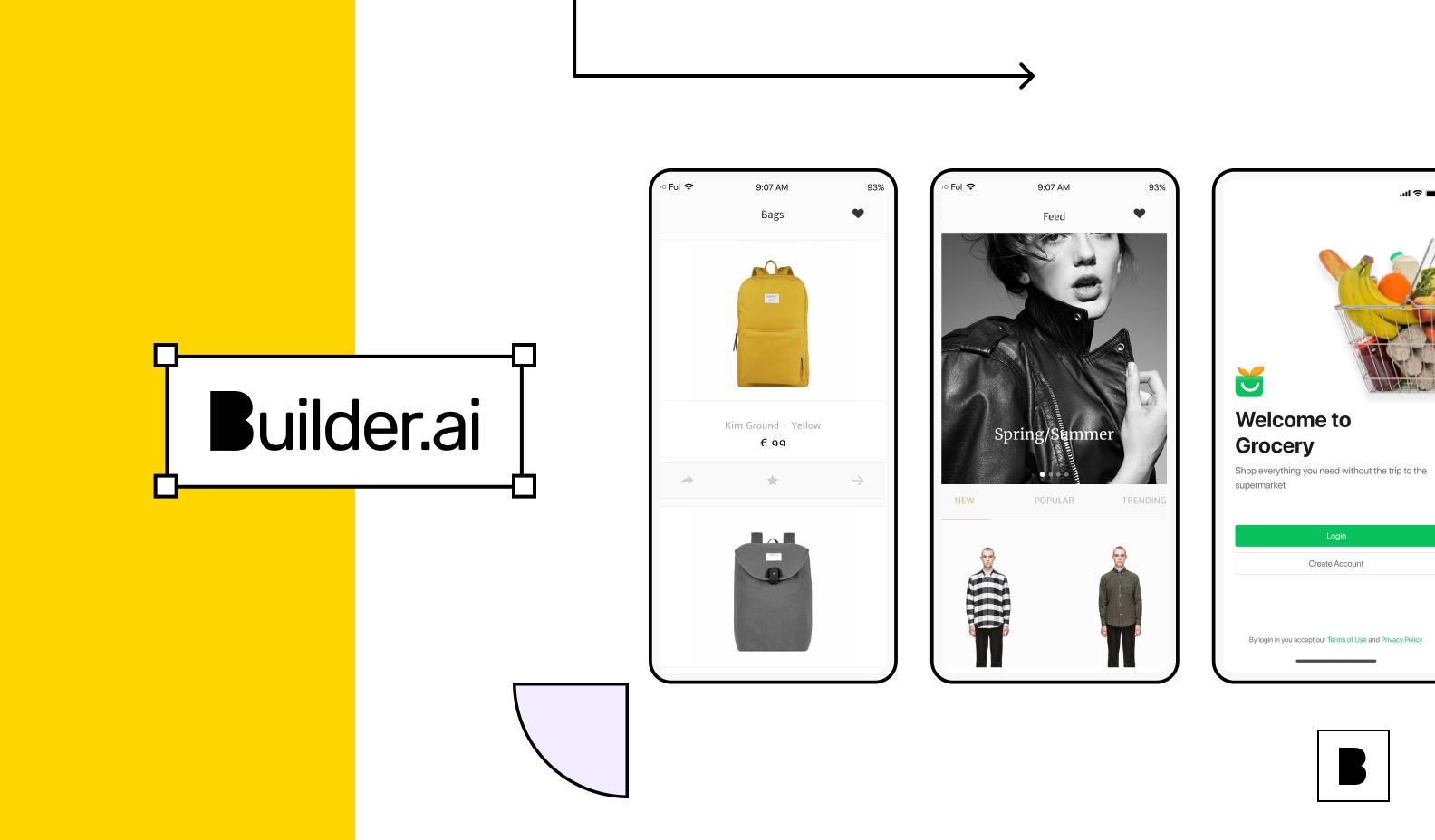 Builder.ai ecommerce app illustration screens