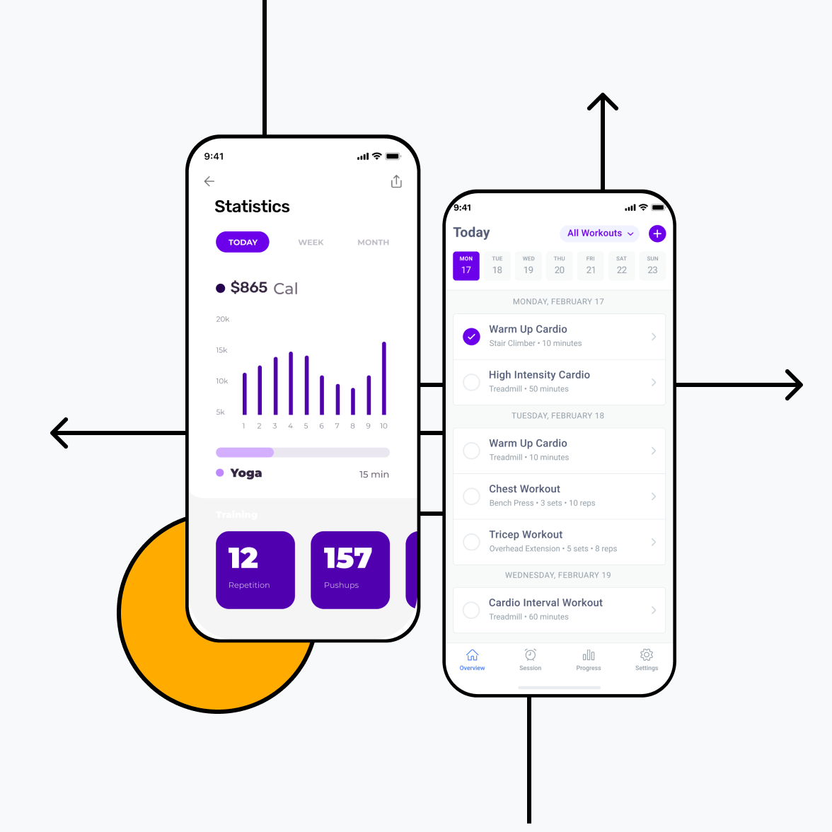Fitness app screens with statistics and schedule