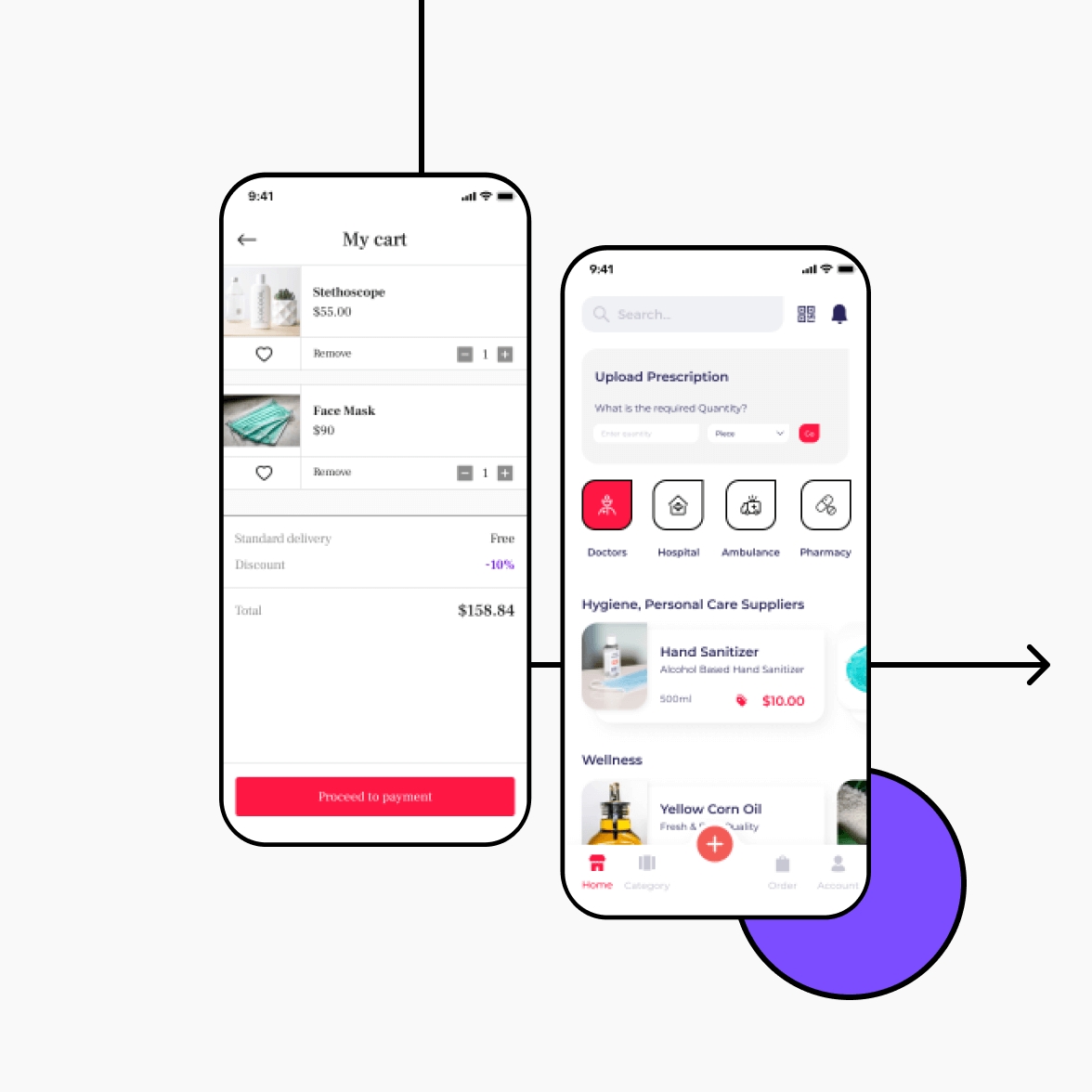 Medicine delivery app screens with shopping cart and product listing