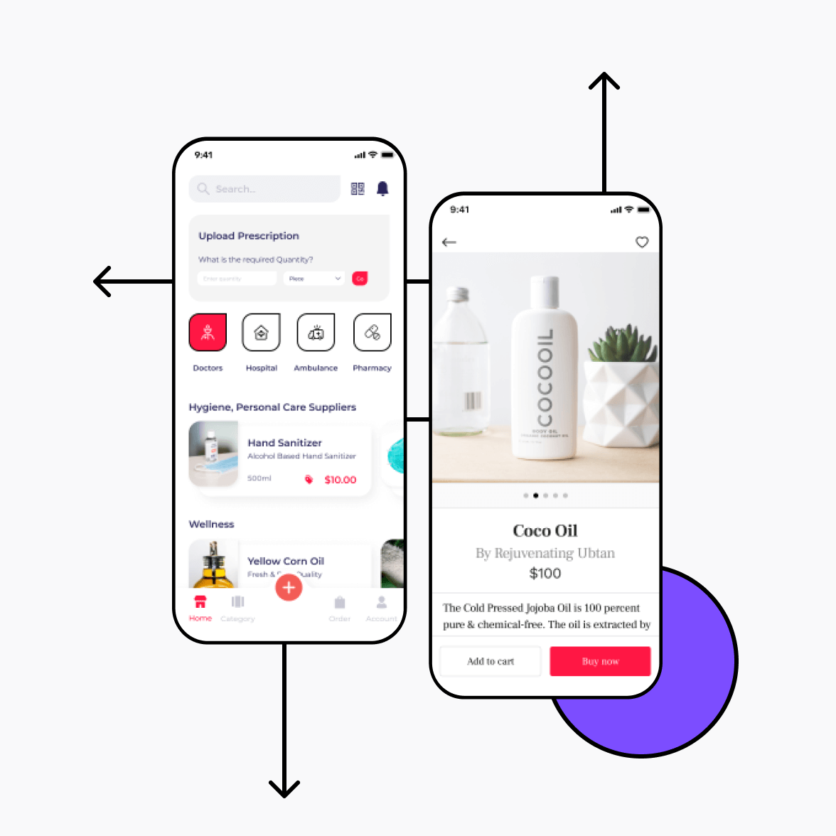 Medicine delivery app screens with product details and listing