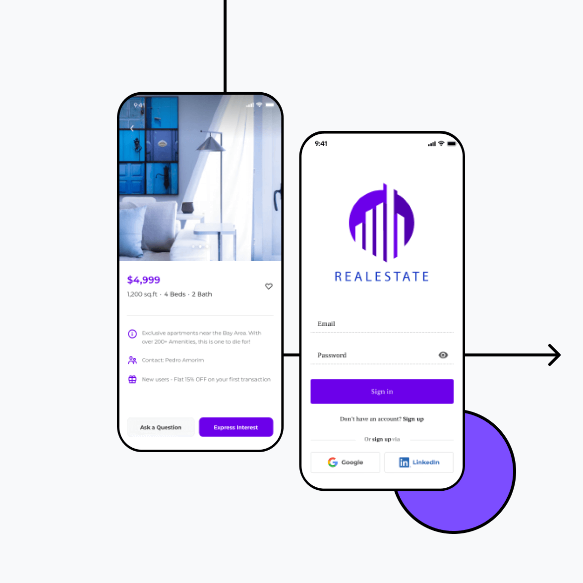 Real estate app with login screen