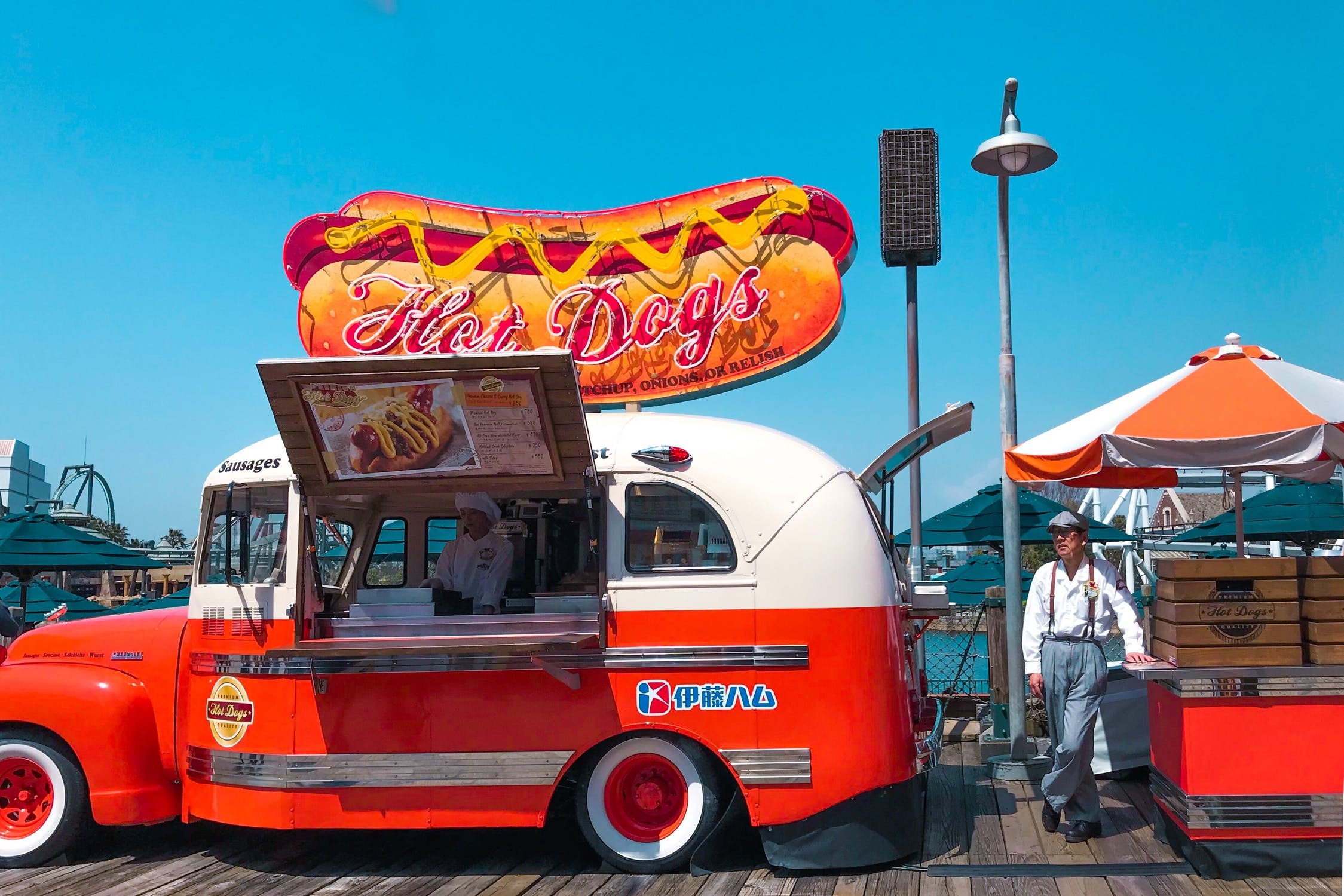 Food truck with hot dogs