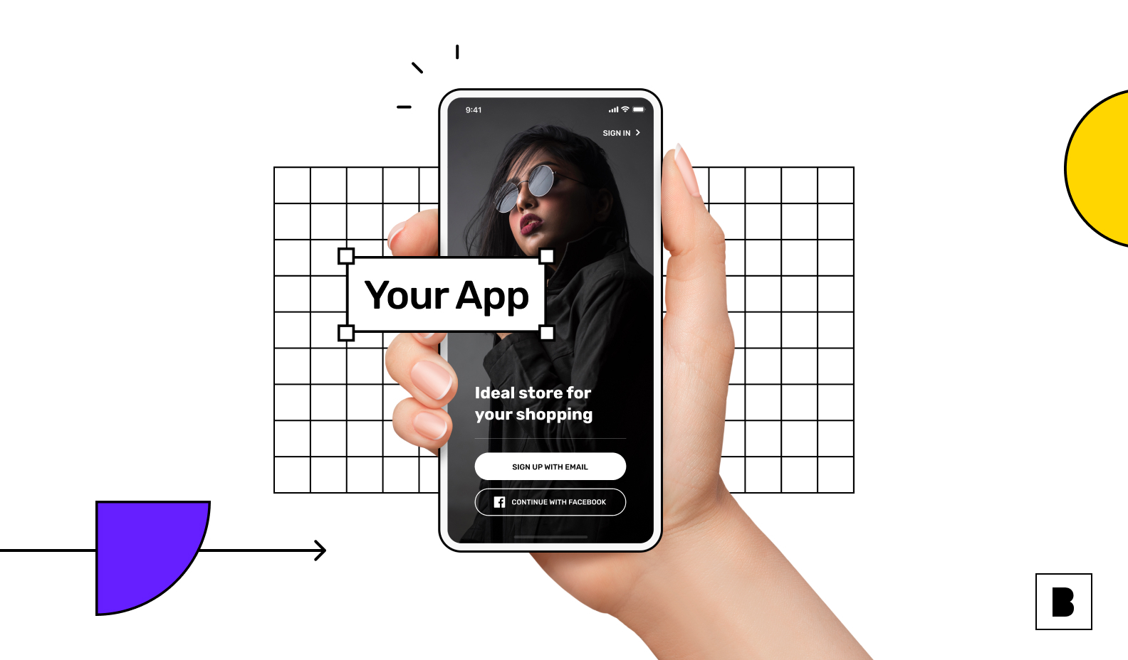 Mobile app illustration with login screen