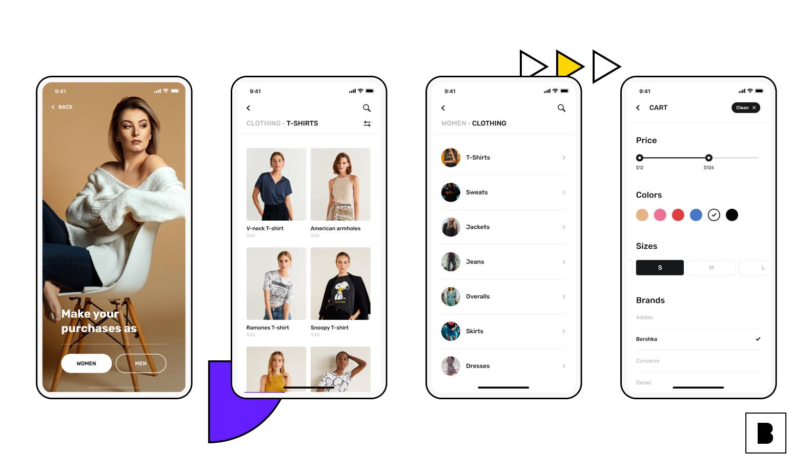 ecommerce app screens