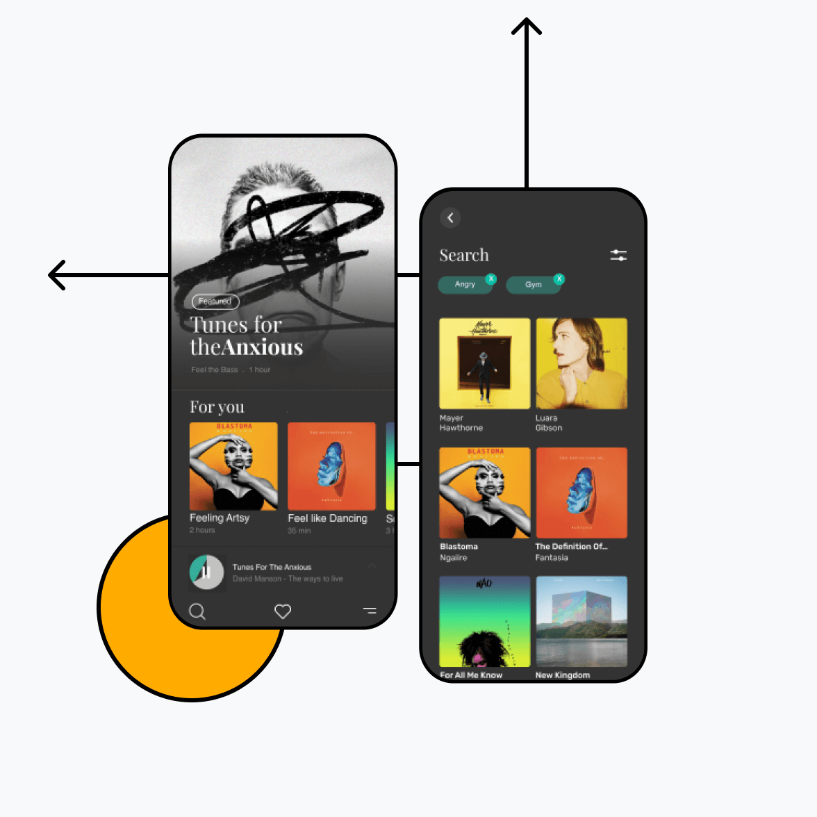 Music streaming app with search screens