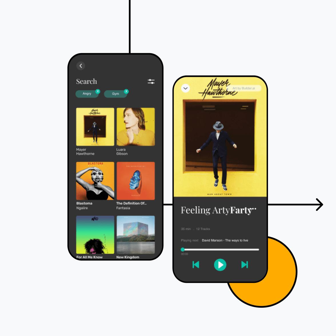 Music streaming app screens