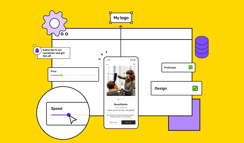 Salon app building illustration with Builder Studio