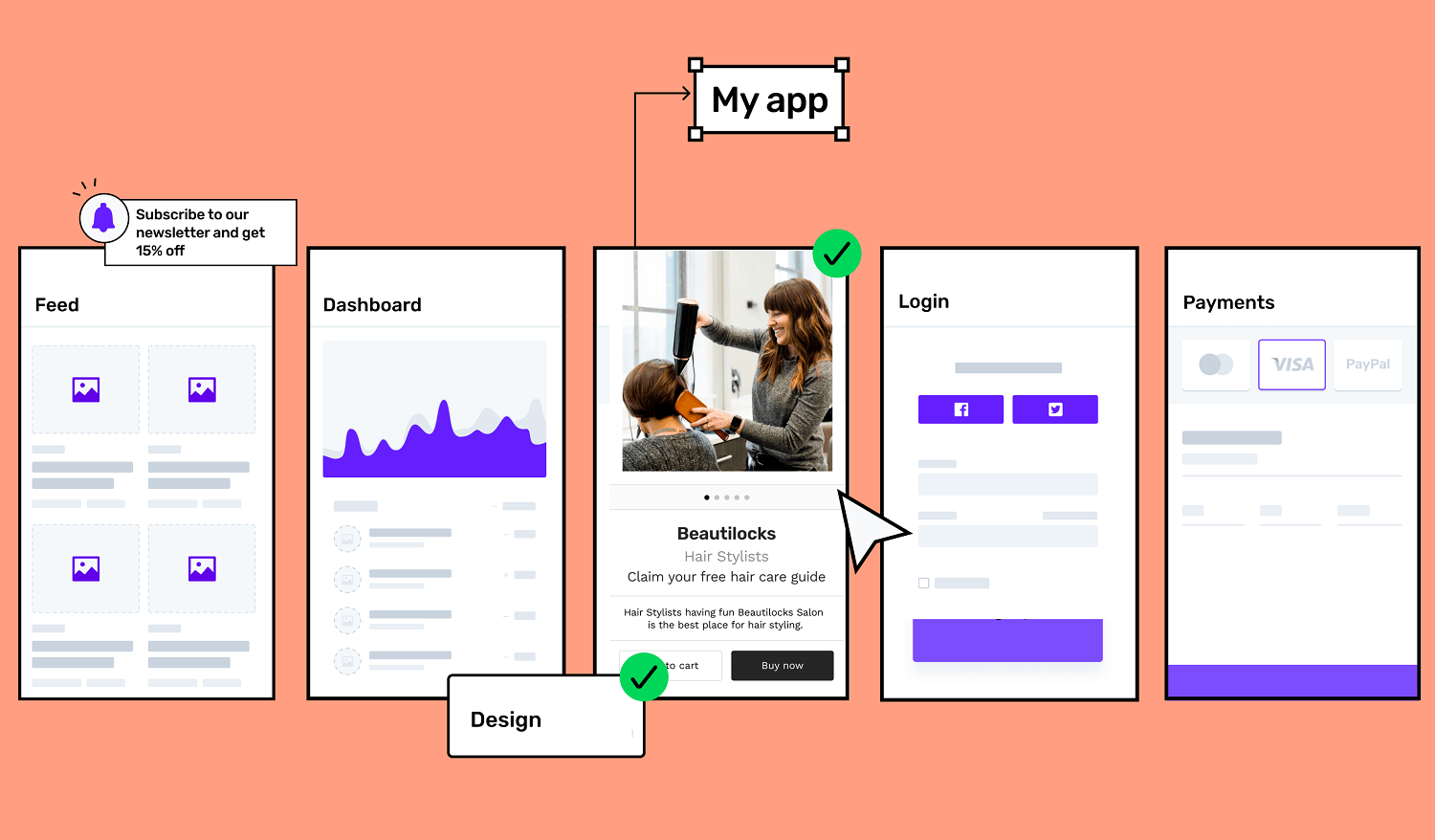 Your app screens during the development phase