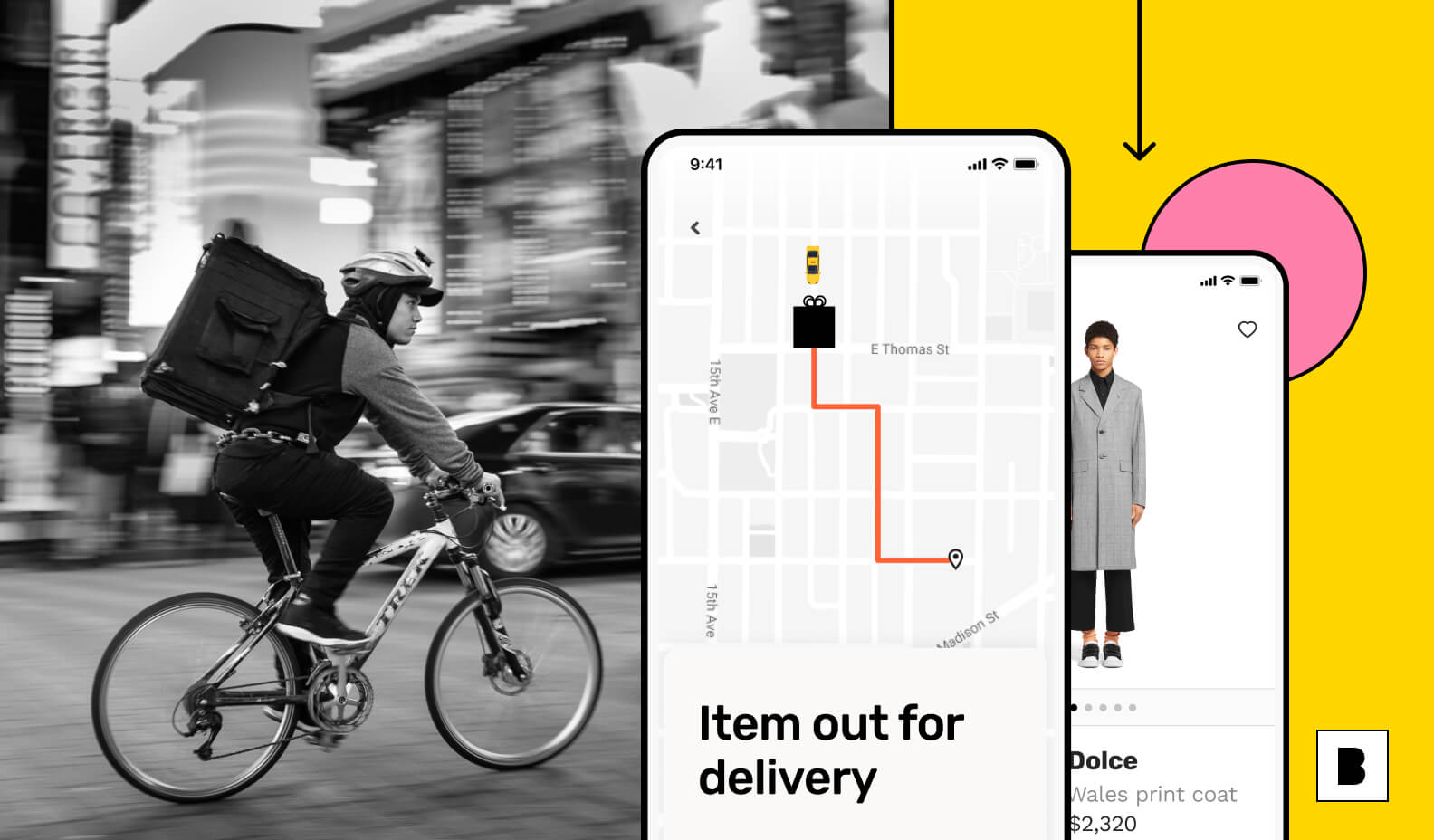 Ecommerce app with delivery man and app screens