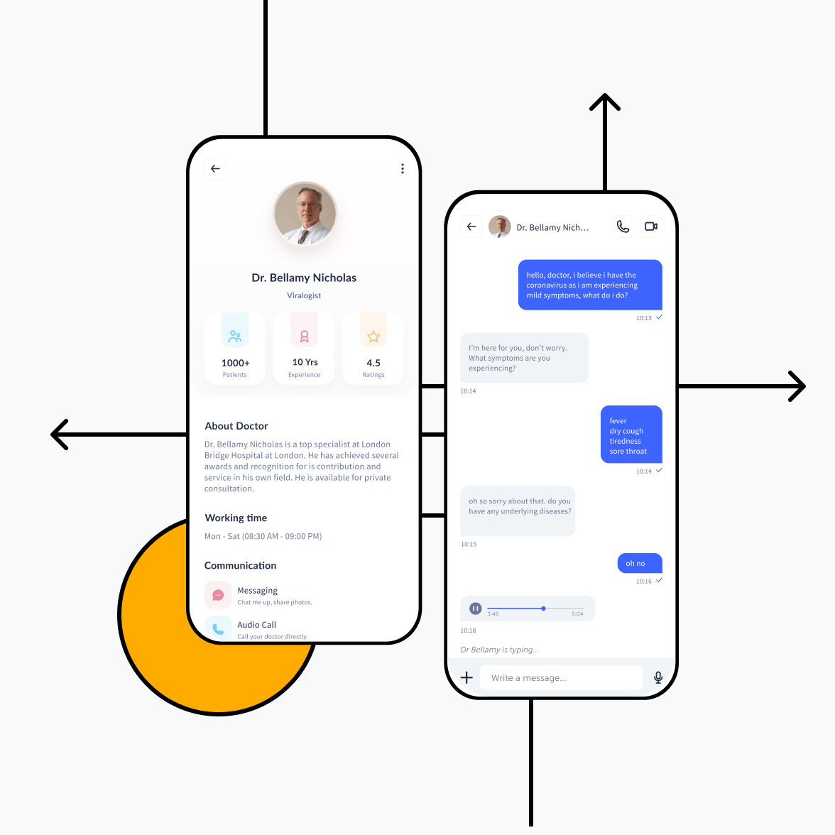Doctors app screen with doctor's profile