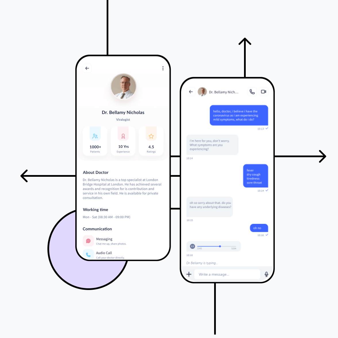 Dental app chat screen and doctor's profile