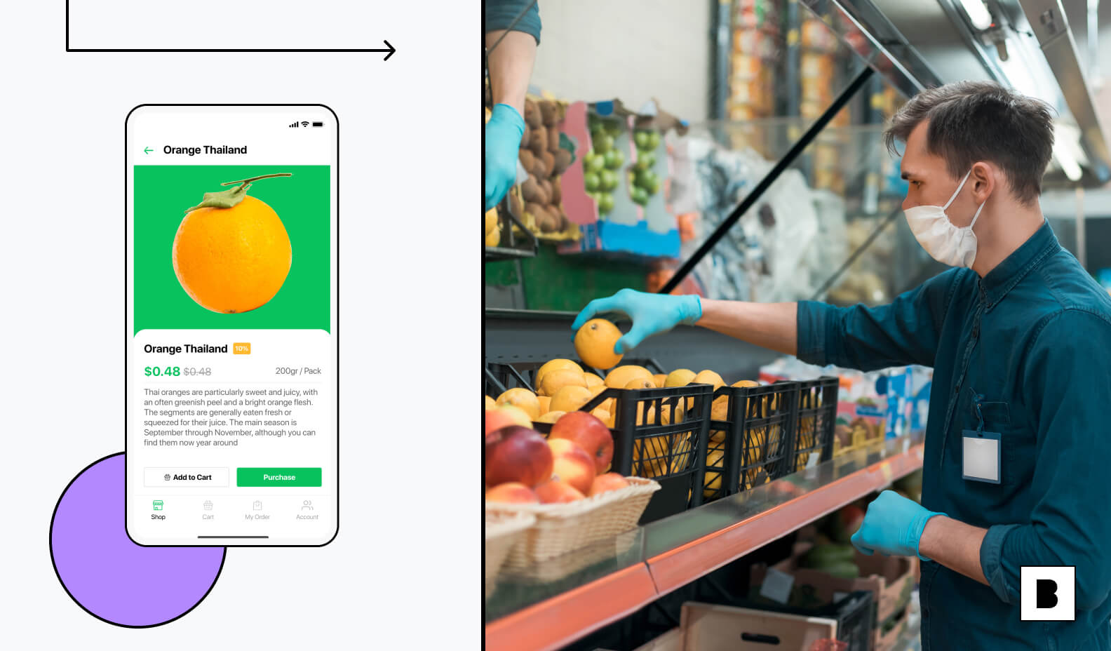 Grocery app screen with shopper in store