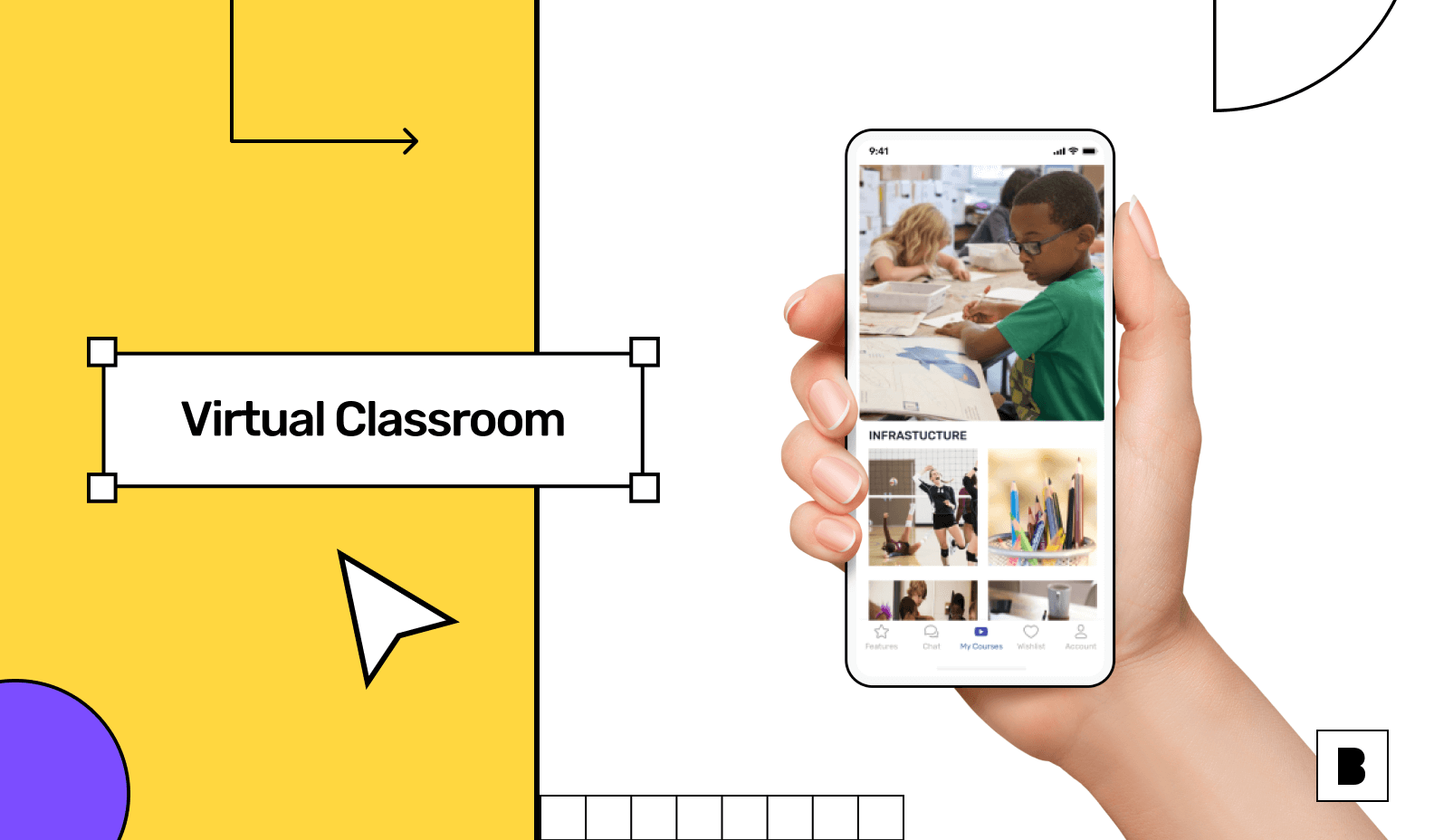 e-learning app with virtual classroom screen