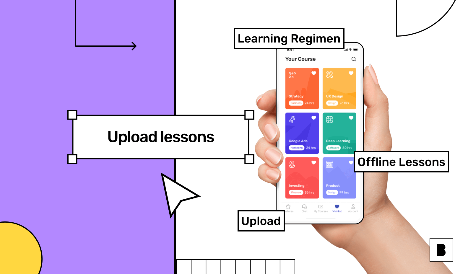 Online learning app with courses screen