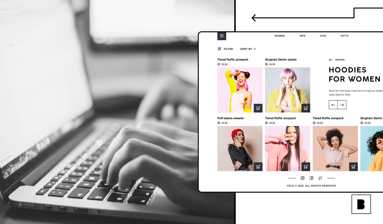 ecommerce website illustration with laptop