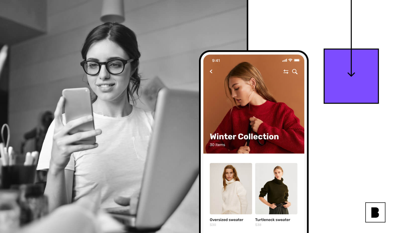 Ecommerce app screens with a user using mobile