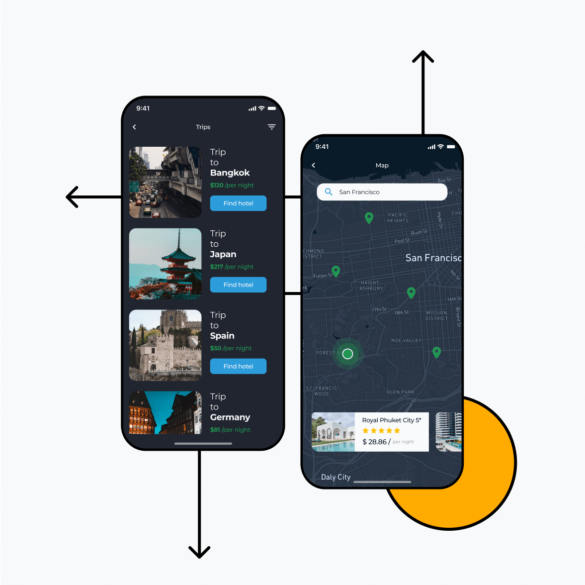 Itinerary app with hotels and map