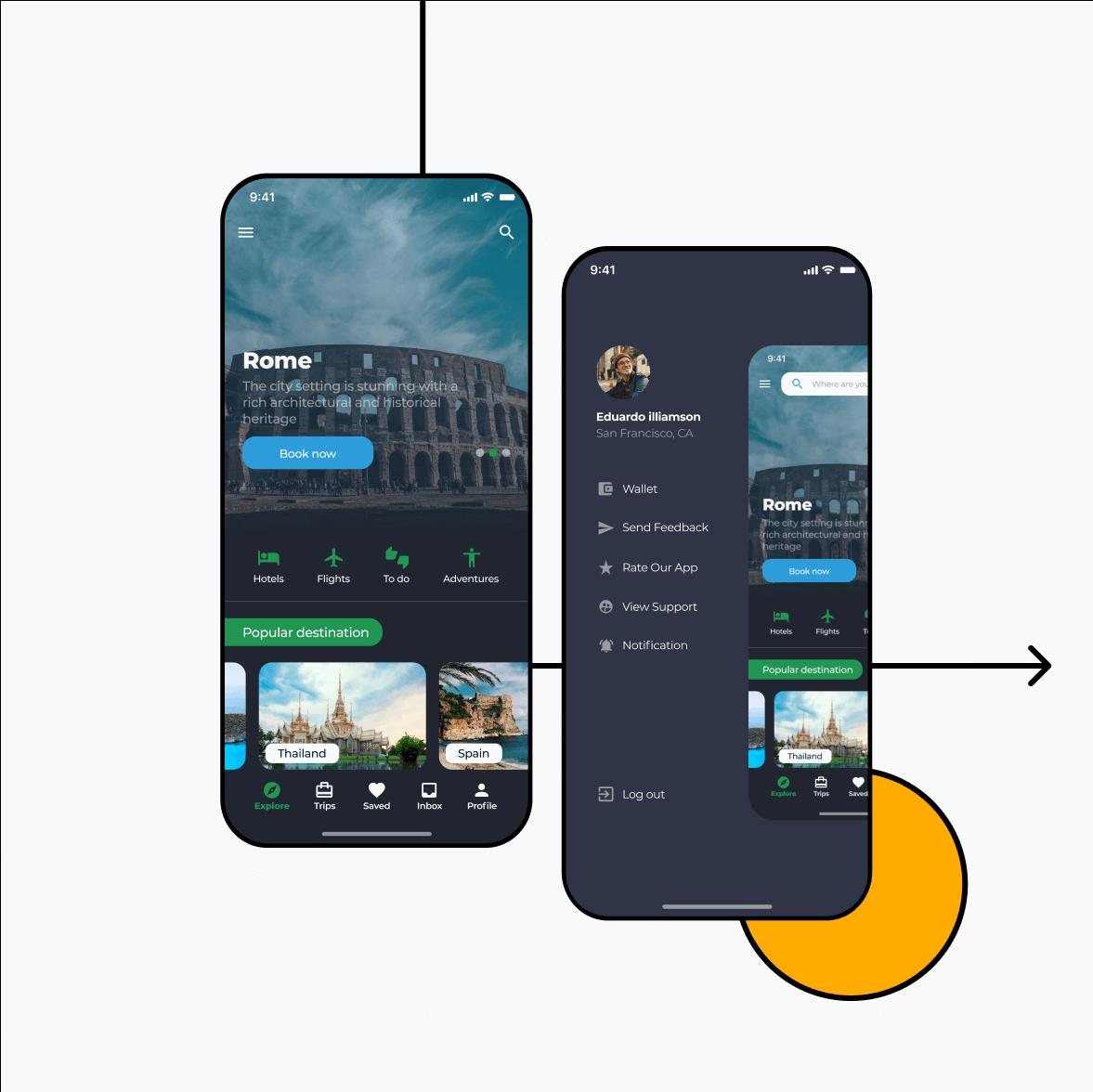 Itinerary app screens