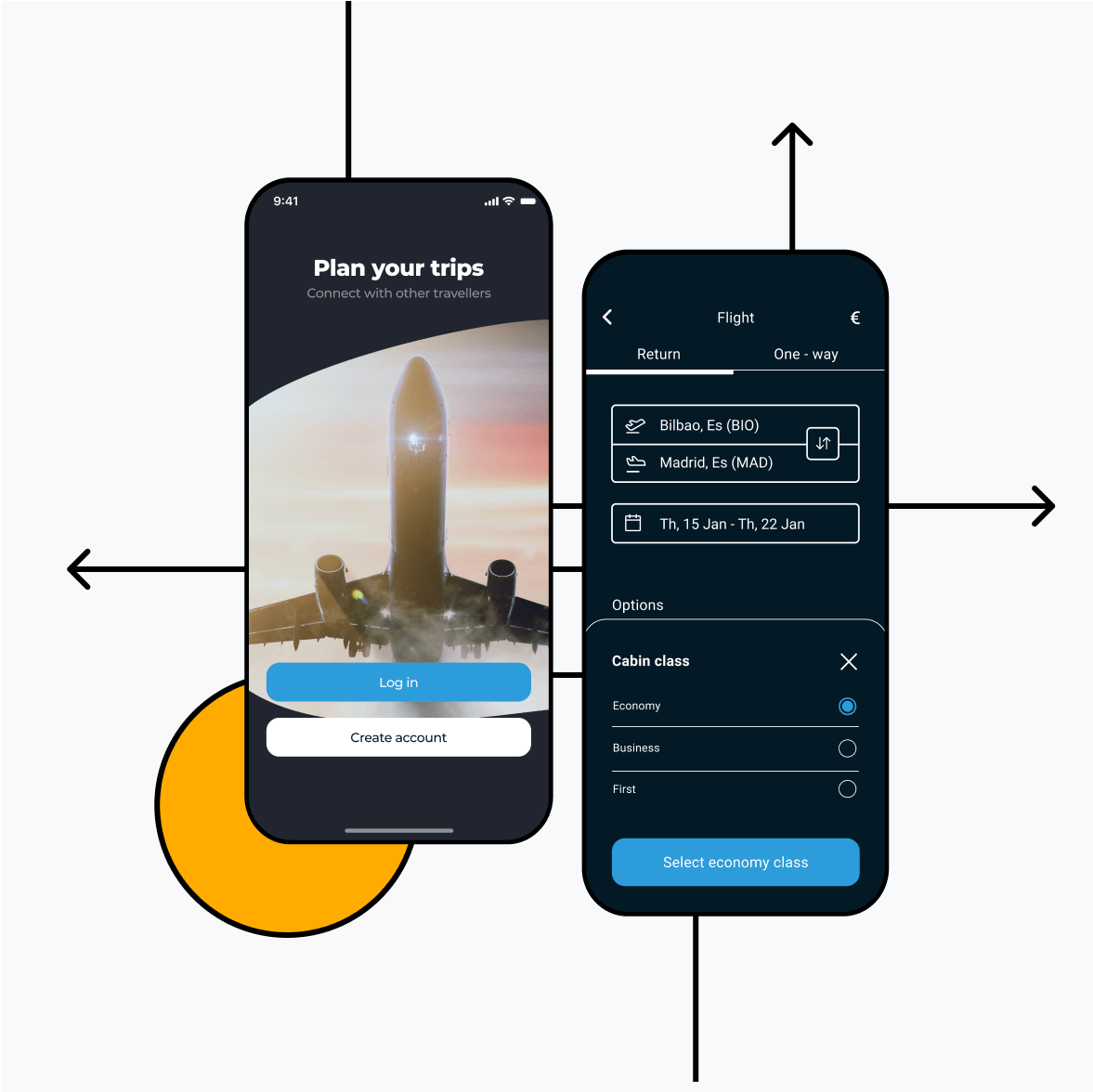 Itinerary app with login screen