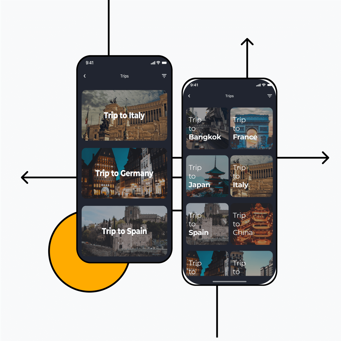 Itinerary app with trips and locations